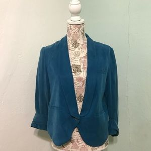 Cartonnier Turquoise One Button Lined Blazer Sz 6